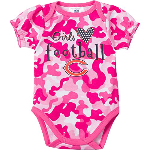 NFL Chicago Bears Girls Camo Bodysuit, 0-3 Months, Pink