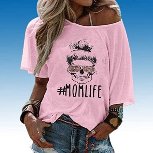 Yesgirl damska koszulka dla nastolatkÓw i dziewcząt, Momlife trupia czaszka leopard bez ramion, luźne ramię, na lato, sportowa koszulka z krÓtkim rękawem: Odzież