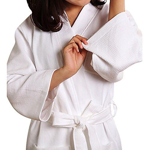 Damen Atmungsaktiver Bademantel Schlafanzug Kimono Style White Gr.L