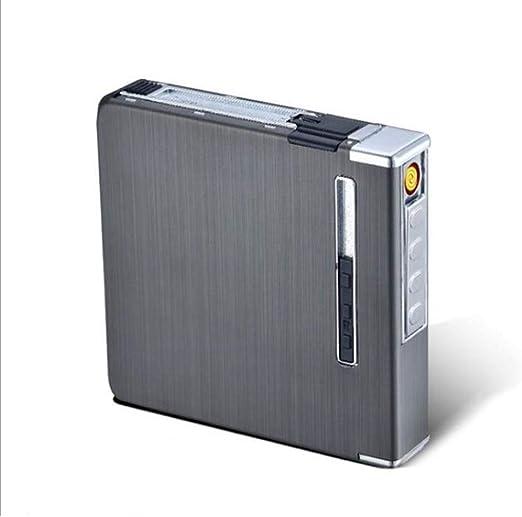 SailorMJY Caja Cigarrillo, Pitillera Cigarrillos Encendedor de Cigarrillos Estuche de Carga USB Cigarrillo automático de Doble Cara fácil de Poner en el Bolsillo (Puede acomodar 20): Amazon.es: Hogar