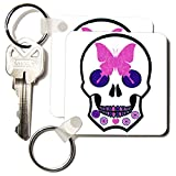 3dRose 8 x 8 x 0.25 Sugar Skull With A Pink Butterfly and Flowers - Key Chains, set of 2 (kc_60981_1)