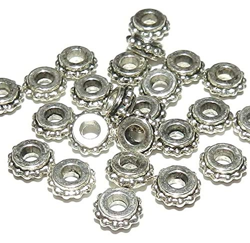 Flat Rim Chandelier - Antiqued Silver 7mm Dot Rim Flat Rondelle Metal Alloy Beads 24pc #ID-4496