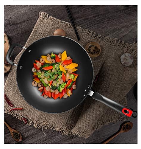 WYQSZ Wok pot home wok cast iron uncoated multi-purpose pig iron kitchen wok -fry pan 2365 (Size : 3220.5cm) by WYQSZ (Image #3)