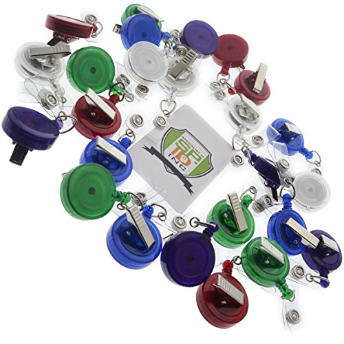 25 Pack - Translucent Retractable ID Badge Reels with Alligator Swivel Clip by Specialist ID (Assorted Colors)
