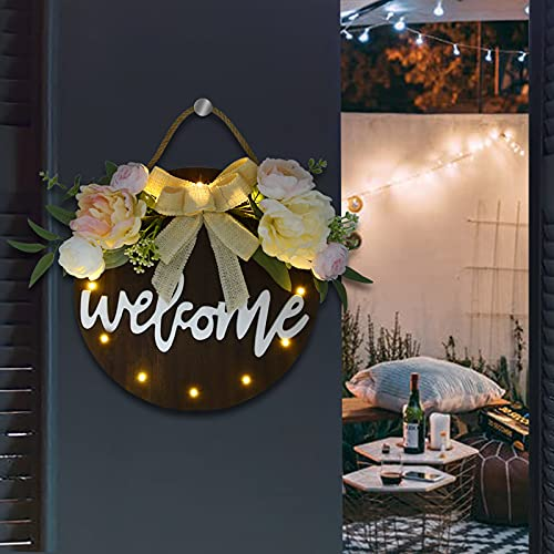 Auing Welcome Sign Front Door Decor, 3D Welcome Home Sign Wooden Porch Sign with 12 LED Lights, Rustic Wall Sign Door Decorations Hanging Outdoor for Daily Holiday(NO Battery)