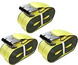4'' x 30' DKG Cargo Winch Strap with Flat Hook Flatbed Truck Tie Down (3 Pack)
