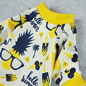 Fitwarm Summer Pineapple Dog Pajamas Pet Clothes Cat Shirts Jumpsuits Apparel Yellow Small
