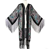 Aris A Women Vintage Floral and Paisley Print Silk Burnout Velvet with Fringe Duster Kimono