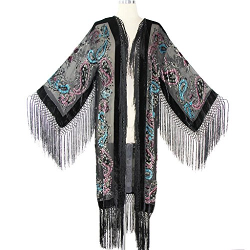 Aris A Women Vintage Floral and Paisley Print Silk Burnout Velvet with Fringe Duster Kimono by Aris A