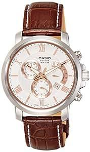 Casio Men's BEM-507L-7AV Beside Leather Band Analog Quartz Chronograph Watch
