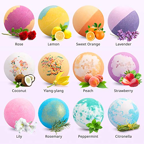 Bath Bombs 12 PCS Gift Set, Ribivaul Handmade Natural & Organic Bath Bomb with Rich Bubbles and Colors, Idea Birthday Father's Day Gift for Men/Women/Kids/Friends