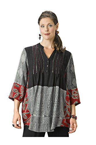 Blouse Bead Embellished (Ulla Popken Women's Plus Size Sequin & Bead Accented Tunic Red Multi 20/22 701144 90)