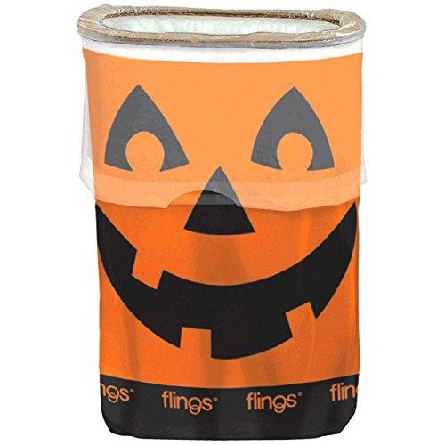 Amscan Spooktacular Halloween Party Jack-O-Lantern 13 gallon Flings Bin, Orange, 22