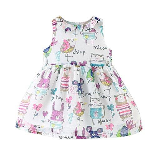 Mud Kingdom Toddler Girls Dresses Cute Turn-Down Collar Animal Print 2T White