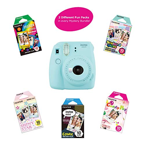 Fujifilm Instax Mini 9 Instant Camera Includes 2 Rainbow Film Packs (20 Photo Sheets Total) | Selfie Mirror, Auto Lens & Light Exposure Setting (Ice Blue)