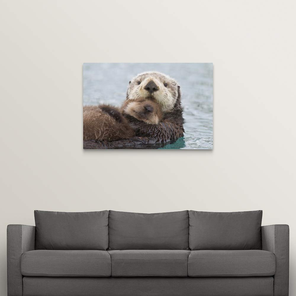 Female Sea Otter Holding Newborn pup Out of Water, Prince William Sound Canvas Wall Art Print.