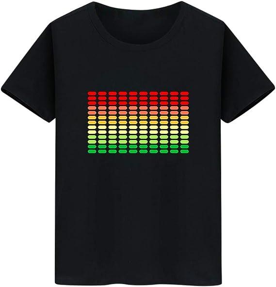 LANSKIRT Camiseta Manga Corta Hombre, DJ Sonido Activado Camiseta con Luz Led Parpadeante Arriba y Abajo, Camisa de Voz Rops de Hombre Camisas 2020 Primavera Verano Talla Grande XXS-XXXL: Amazon.es: Ropa y