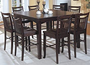 Amazon Com Mahogany Finish Counter Height Dining Table 8 High Chairs Set Table Chair Sets