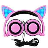 Over-Ear-Headphones, Cuitan Foldable Kids Cosplay Earphones with Glowing Cat Ears Gaming Wired Headband Headsets for iPhone Samsung Mobile Phone PC Computer Mp3 Mp4 for Children Girls Boys - PInk