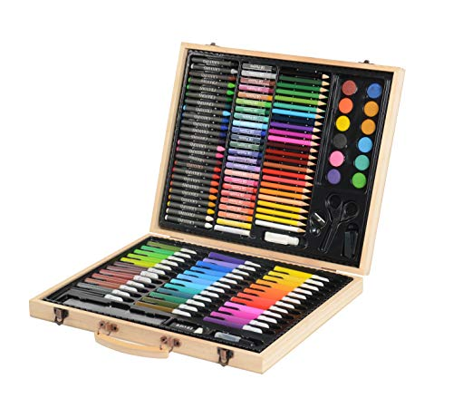 (CONDA and Kiddy Color Deluxe Wood Art Drawing Set for Kids in Wooden Case, Painting 126 Piece)