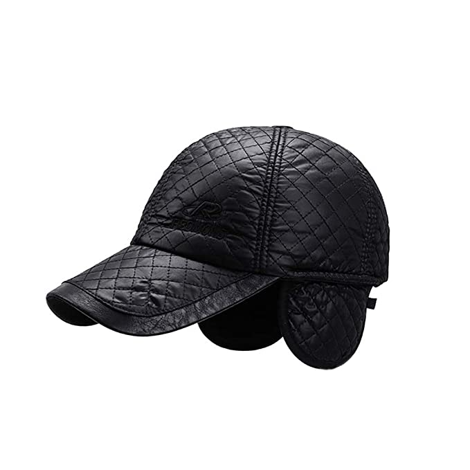 d39a9ae184b HUPLUE Mens Winter PU Baseball Cap Hat Ear Warmer Outdoor Sports at Amazon  Men s Clothing store