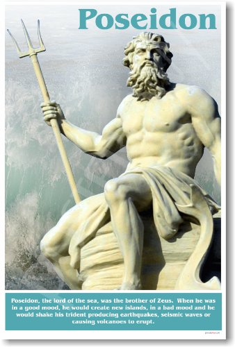 Ancient Greece: Greek Mythology, Lord of the Sea, Brother of Zeus, Poseidon, Classroom Poster -