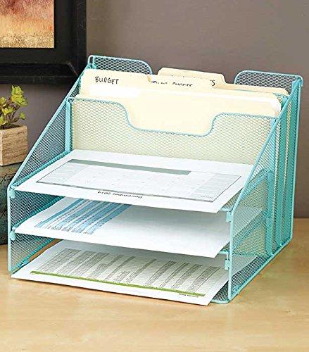 Vanra Metal Mesh Desktop File Sorter Organizer Desk Tray Organize With 3 Letter Trays And 2