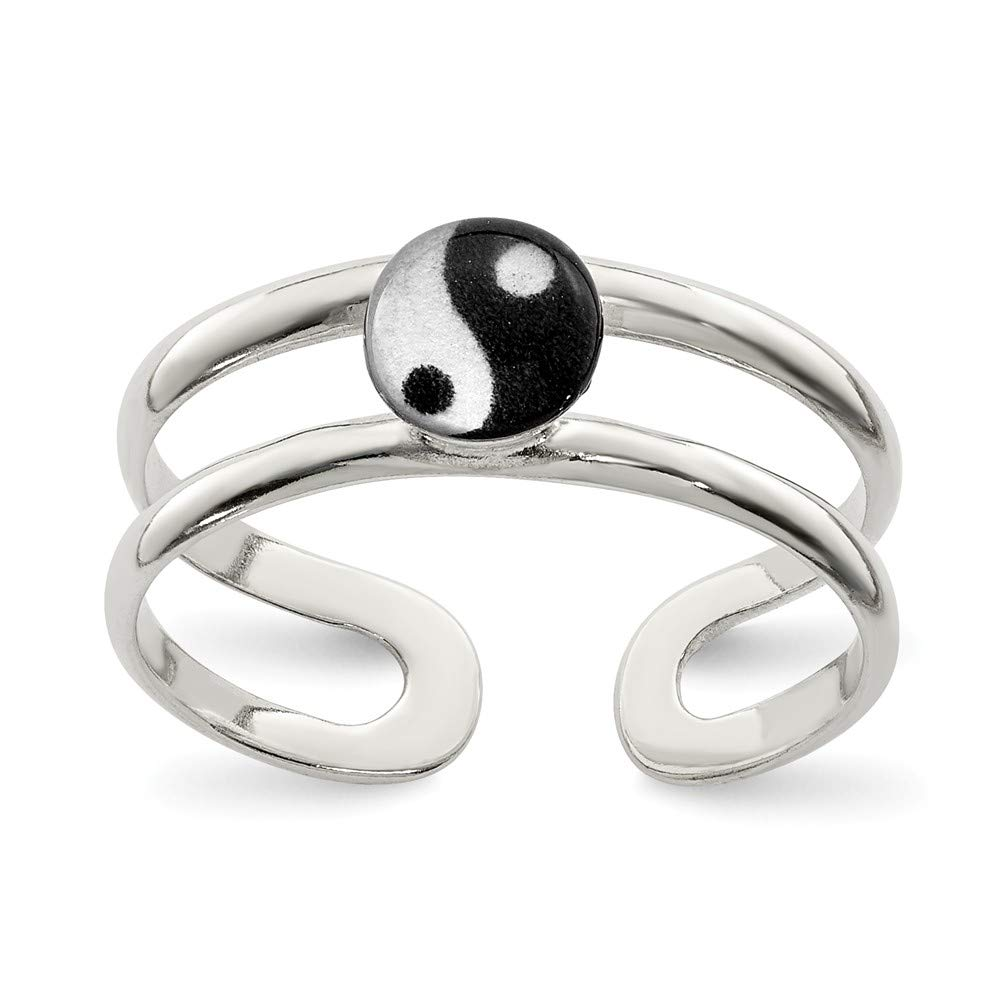 Solid 925 Sterling Silver Enameled Ying-Yang Adjustable - One Size Fits All - Toe Ring (6mm) by Sonia Jewels