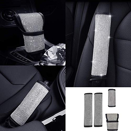 fangfei Bling Bling Auto Shift Gear Cover, Luster Crystal Car Knob Gear Stick Protector Diamond Car Decor Accessories for Women
