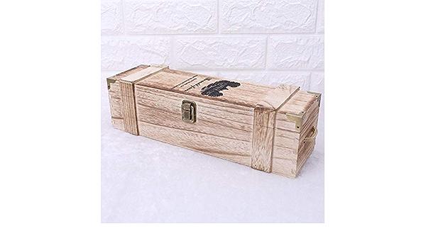 Retro Vacía Botella De Vino Tinto Caja De Madera Paulownia Almacenamiento Caso Contenedor Portador UVA Whiskey Caja De Empaque: Amazon.es: Hogar
