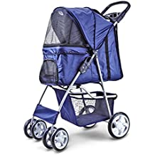 Flexzion Pet Stroller Dog Cat Small Animals Carrier Cage 4 Wheels Folding Flexible Easy Walk for Jogger Jogging Travel Up to 30 Pounds With Rain Cover Cup Holder and Mesh Window, Deep Blue