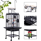 VIVOHOME 72 Inch Wrought Iron Large Bird Cage with Play Top and Stand for Parrots Lovebird Cockatiel Parakeets