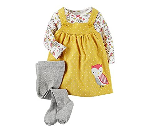 Carter's Baby Girls' 3-Piece Tee & Owl Jumper Set 18 Months - Corduroy Jumper Dress Set