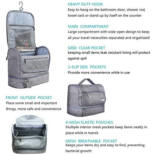 HOKEMP Toiletry Bag Travel Waterproof Cosmetic Bag Multifuncation Organizer Bag Portable Makeup Pouch - Gray by HOKEMP (Image #2)