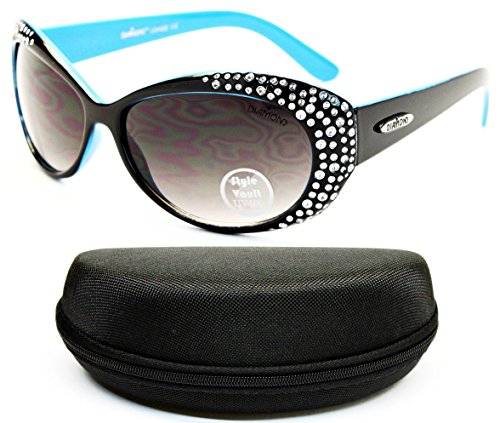 D1124-cc Diamond Eyewear Cateye Sunglasses (O2937B Black/Blue, - Eyeglasses Designer With Bling