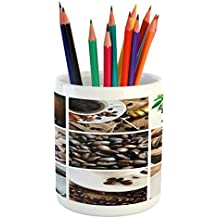 Lunarable Kitchen Pencil Pen Holder, Collage of Coffee and Products Beans Deserts Ice Cream Cinnamon Hot Drink, Printed Ceramic Pencil Pen Holder for Desk Office Accessory, Dark and Pale Brown