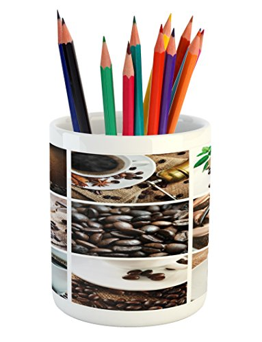 Lunarable Coffee Pencil Pen Holder, Collage of Coffee and Products Beans Deserts Ice Cream Cinnamon Hot Drink, Printed…