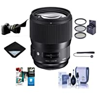Sigma 135mm f/1.8 DG HSM IF ART Lens for Canon EOS DSLR Cameras - Bundle With 82mm Filter Kit, Flex Lens Shade, Cleaning Kit, Lens Wrap, Capleash II, Software Package