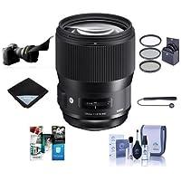 Sigma 135mm f/1.8 DG HSM IF ART Lens for Nikon DSLR Cameras - Bundle With 82mm Filter Kit, Flex Lens Shade, Cleaning Kit, Lens Wrap, Capleash II, Software Package
