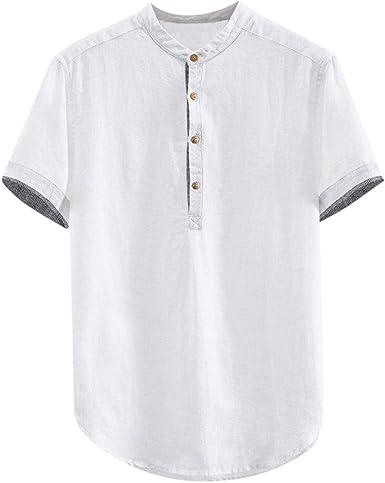 Skang Camisetas Hombre Redondo Cuello Cuello Mao con Botones Sólido Camiseta Henley Blusa Polos Elegant y Cómodo Vintage Verano XXXL: Amazon.es: Ropa y accesorios