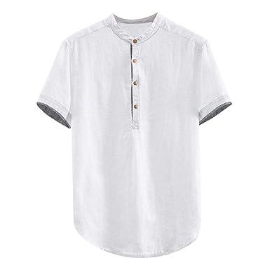 Hombre Cuello En V Camisetas Manga Larga Botón En Slim para Camisa ...