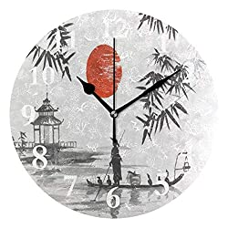 DERTYV Traditional Japan Mountain Bamboo Sun Landscape Non Ticking Silent Rhombus Wall Clock Decorative, Battery Operated Analog Quiet Round Wall Clock, for Living Room, Kitchen, Bedroom