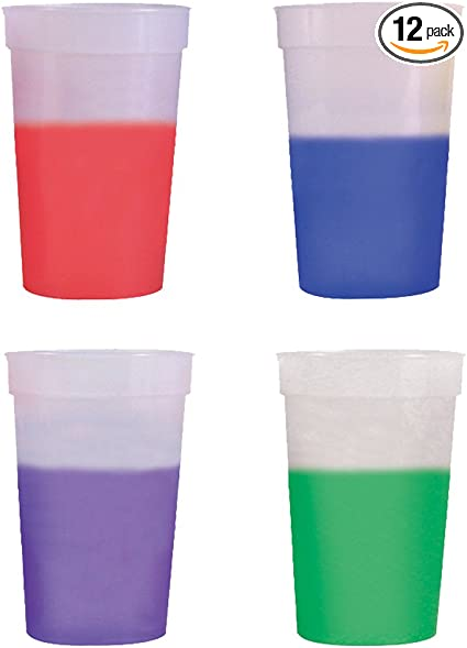 17Oz Color Changing Stadium Cup Set Of 12 Frosted Assorted Free Shipping Gift