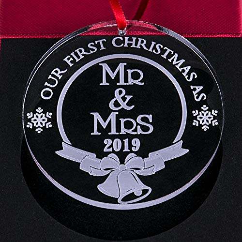 WaaHome Our First Christmas As Mr and Mrs Ornaments 2019 Wedding Gifts 1st Christmas Married Tree Ornament Tree Decorations for The Couple (Couple Gifts Christmas 1st Married)