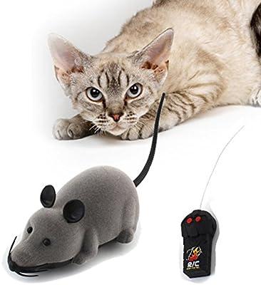 Lomire Juguete de Mini Ratón Divertido con Electrónico Control Remoto para Gatos Perros, Gris