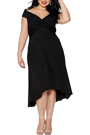 602f1896044ad Foryingni Women s Plus Size Off Shoulder Knot Front High Low Ruffled Hem  Evening Formal Party Dress at Amazon Women s Clothing store