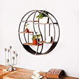 nouler Retro Industrial Style Wrought Iron Round Shelf Home Living Room Kitchen Office Creative Pendant Wall Hanging Decoration,Shelf,Small