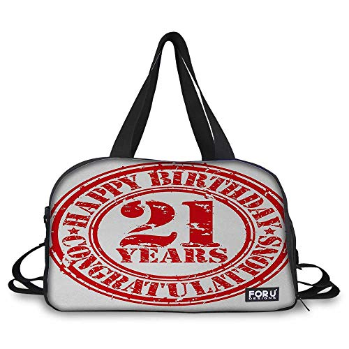 21st Birthday Duffle Bag with Adjustable Strap Logo Icon Vintage Style Happy Birthday Congratulations Party Image Print for Sports, Gym, Vacation Red and White