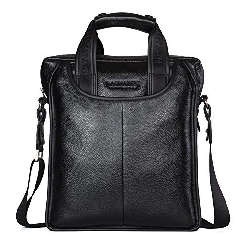 Black Mens Messenger Bag (BOSTANTEN Leather Handbag Briefcase Messenger Business Work Bags for Men Black)