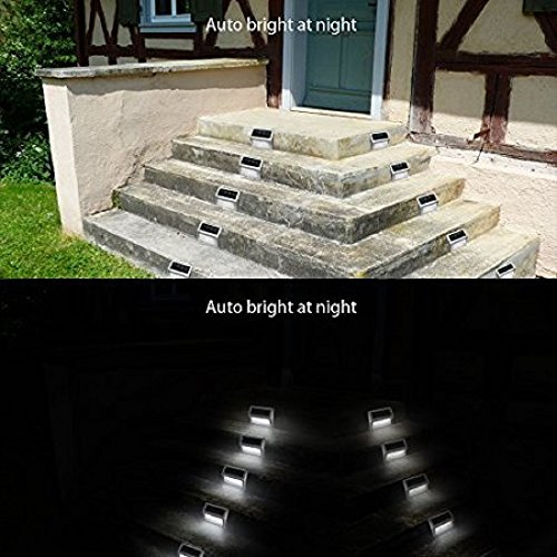 Solar Stair Lights, EpicGadget Waterproof Outdoor LED Step Lighting 3 LED Solar Powered Step Lights Stainless Steel Outdoor Lighting for Steps Paths Patio Stairs (12 Pack) by EpicGadget(TM) (Image #5)